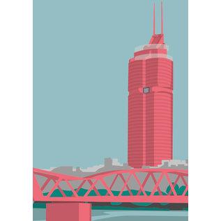bv047   bon voyage   Millennium Tower, Wien - Postkarte A6