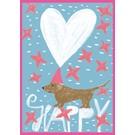 sg195| Postkarte - Winter - Happy Dackel
