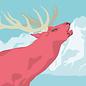 lu109   postcard - deer