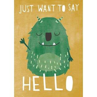 df312 | Designfräulein | Just Want To Say Hello - postcard A6