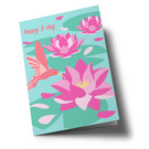 ha337 | happiness | Happy b-day - hummingbird - folding card