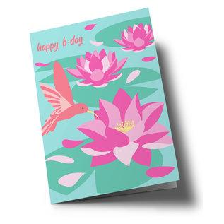 ha337   happiness   Happy b-day - hummingbird - folding card