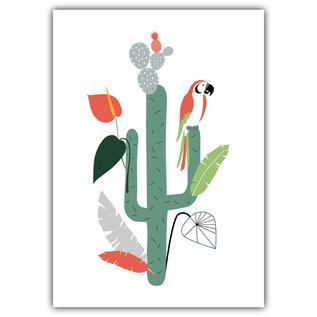 FZ-F-28011 |  Feel.Free | Papagei Palme Kaktus - Postkarte  A6