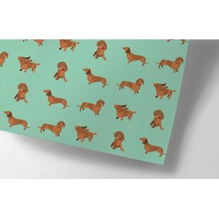 cc732 | wiener dog - wrapping paper Bogen 50 x 70 cm