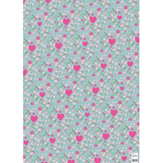 ha710 | happiness | hearts and flowers - Geschenkpapier Bogen 50 x 70 cm