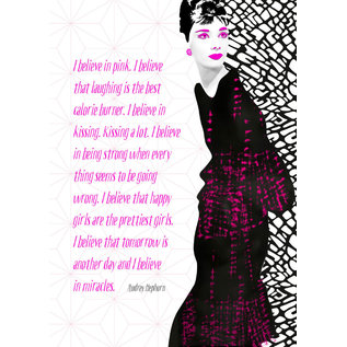 FZSW002 |  Style For A While | I believe in pink. - Audrey Hepburn - Holzschliffpappe A6