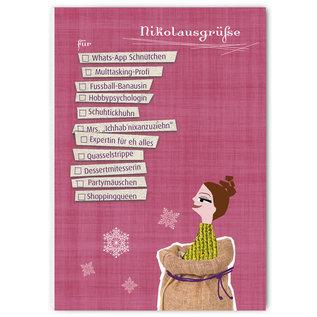 FZYPX10 |  Xmas Karten | Nikolausgrüße für Mädels - postcard  A6