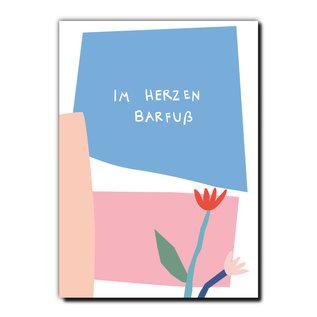 FZPA007 | Pastellica | IM HERZEN BARFUß - Postkarte A6
