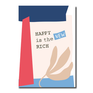 FZPA021   Pastellica   HAPPY is the NEW RICH – Post Card A6
