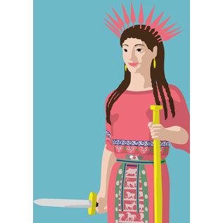 mu017 | museum art | Gods in Color | Peplos Kore - Postcard A6