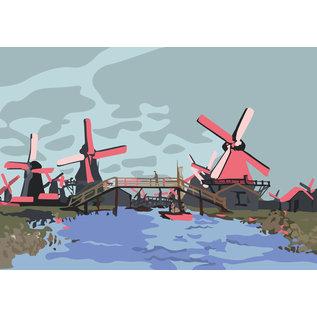 "mu012 | museum art | Monet – ""Windmills near Zaandam"" – 1871 – Postkarte A6"