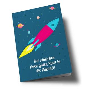 lucky cards lc505   lucky cards   Zukunftsrakete - Klappkarte A5