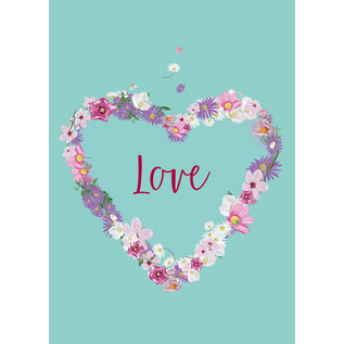 mi020 | m-illu | Heart of Flowers - Love - postcard A6