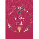 mix205 | m-illu | Kranz - Frohes Fest - Postkarte A6