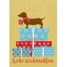 mix211 | m-illu | Wiener Dog - Frohe Weihnachten - postcard A6