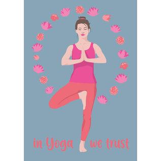 ha028 | happiness | In Yoga we trust - Postkarte A6