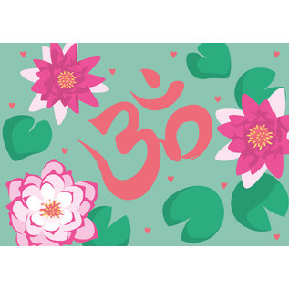 ha028 | happiness | Om and Lotus Blossoms - postcard A6