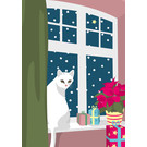 lcx002 | lucky cards | Katze am Fenster - Postkarte