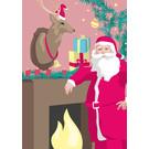 lcx003 | lucky cards | Weihnachtsmann am Kamin - Postkarte
