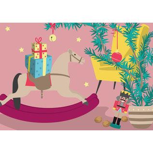 lcx004 | lucky cards | Geschenke mit Schaukelpferd - postcard A6