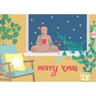 lcx005   lucky cards   Merry Xmas Buddha - postcard