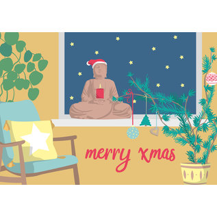 lcx005 | lucky cards | Merry Xmas Buddha - postcard A6
