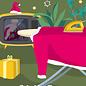 lcx010   lucky cards   Weihnachtsmanns Bügelbrett - postcard A6