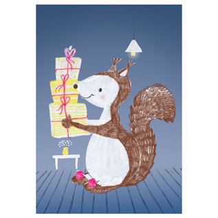 sg220 | schönegrüsse | Eichhörnchen mit Geschenk - Postkarte A6