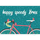 lux035 | luminous | Holy speedy Xmas bicycle - postcard A6