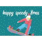 lux036 | luminous | Holy speedy Xmas Snowboard- Postkarte A6