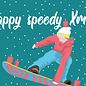 lux036   luminous   Holy speedy Xmas Snowboard - postcard A6
