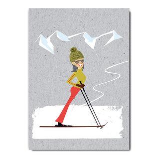 fzgc039 |  Gray-Code | Skigirl - Postkarte  A6