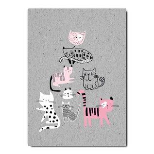 fzgc049 |  Gray-Code | Cat pyramide - postcard  A6