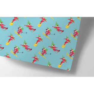 cc741 | crissXcross | Sporty Xmas  - wrapping paper sheet 50 x 70 cm