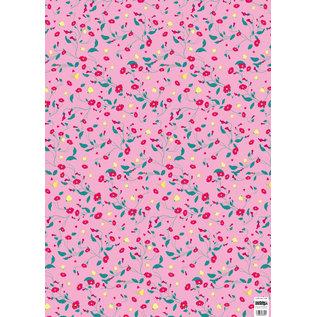 cc744 | crissXcross | Pink Flower Meadow - Geschenkpapier Bogen 50 x 70 cm
