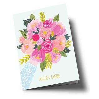 ar305 | Anke Rega | Flowers Alles Liebe - double card C6