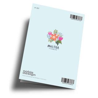 ar307 | Anke Rega | Blumen Happy Birthday - Klappkarte  C6