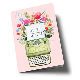 ar308   Anke Rega   Typewriter Alles Gute - double card C6