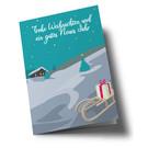 lucky cards lc304 | lucky cards | Winterlandschaft Schlitten Frohe Weihnachten - Klappkarte