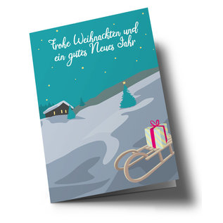lc304   lucky cards   winter landscape sledge Frohe Weihnachten - double card C6