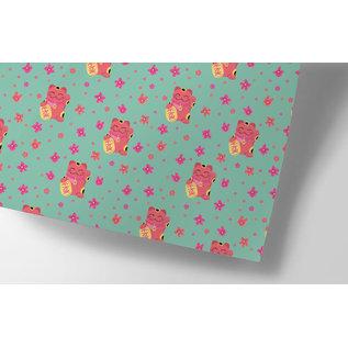 ha711   happiness   Winkekatze - Geschenkpapier Bogen 50 x 70 cm