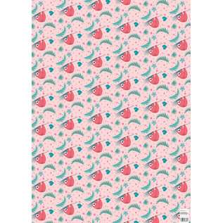 ha714   happiness   sloth - wrapping paper Bogen 50 x 70 cm