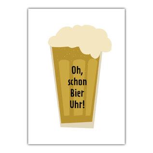 fzde027 |  Delicious | Oh - schon Bier Uhr - Postkarte A6