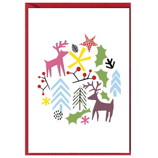 fzxm008 |  Xmas Karten | Deer and others - double card  A6