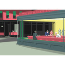 "mu020 | museum art |  ""Nighthawks"" - Hommage à  Edward Hopper - Postkarte A6"