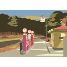 "mu021 | museum art | ""Gas"" - Hommage à Edward Hopper  - Postkarte A6"
