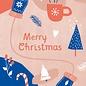 dfx300   Designfräulein   Merry Xmas rot/blau - postcard A6