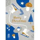 dfx301 | Designfräulein | Merry Xmas blau/grau - Postkarte