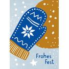 dfx308 | Designfräulein | Frohes Fest Handschuh - Postkarte