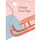 Designfräulein dfx307 | Designfräulein | Schöne Feiertage Schlitten - Postkarte